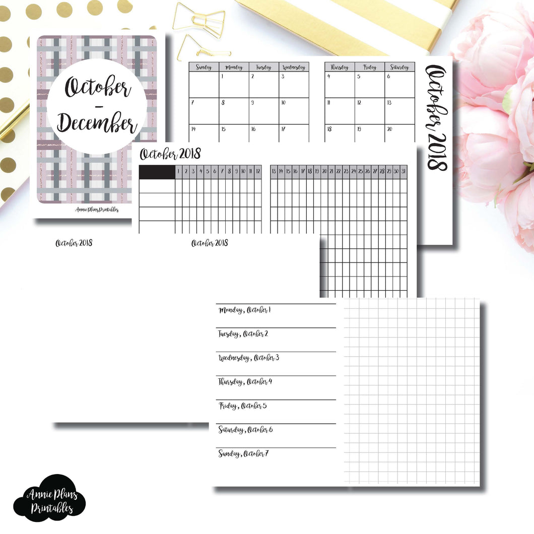 Micro TN Size | OCT - DEC 2018 | Horizontal Week on 1 Page + GRID (Monday Start) Printable Insert ©