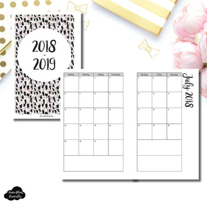 MINI HP Size | 2018 - 2019 Academic Monthly Calendar (SUNDAY Start) PRINTABLE INSERT ©