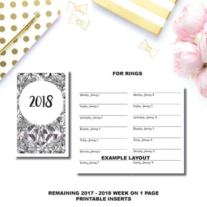 Personal Rings Size  | 2017 - 2018 Week on 1 Page Layout (Monday Start) Printable Insert ©