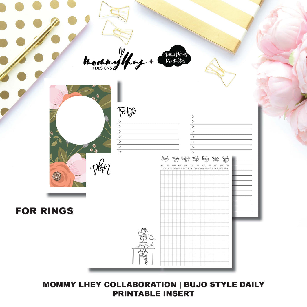 HALF LETTER RINGS Size | Mommy Lhey Collaboration Bujo Style Printable Insert©