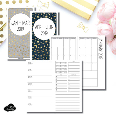 Standard TN Size | JAN - MAR & APR - JUN 2019 | Week on 1 Page (Monday Week Start) With Trackers + Lists Printable Insert ©