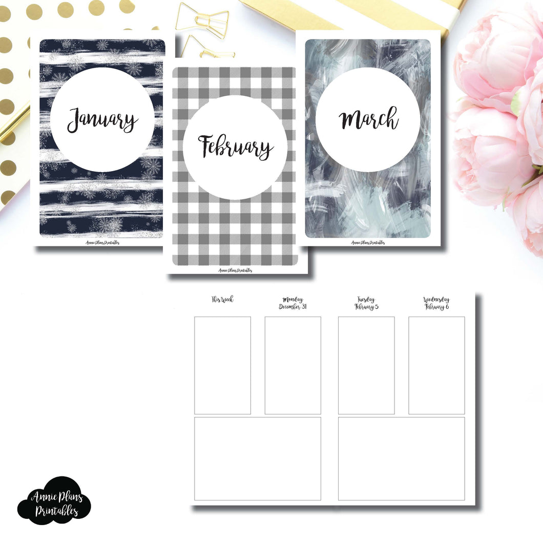 A6 TN Size | JAN - MAR 2019 Basic Vertical Week on 4 Page (Monday Start) Layout Printable Insert ©