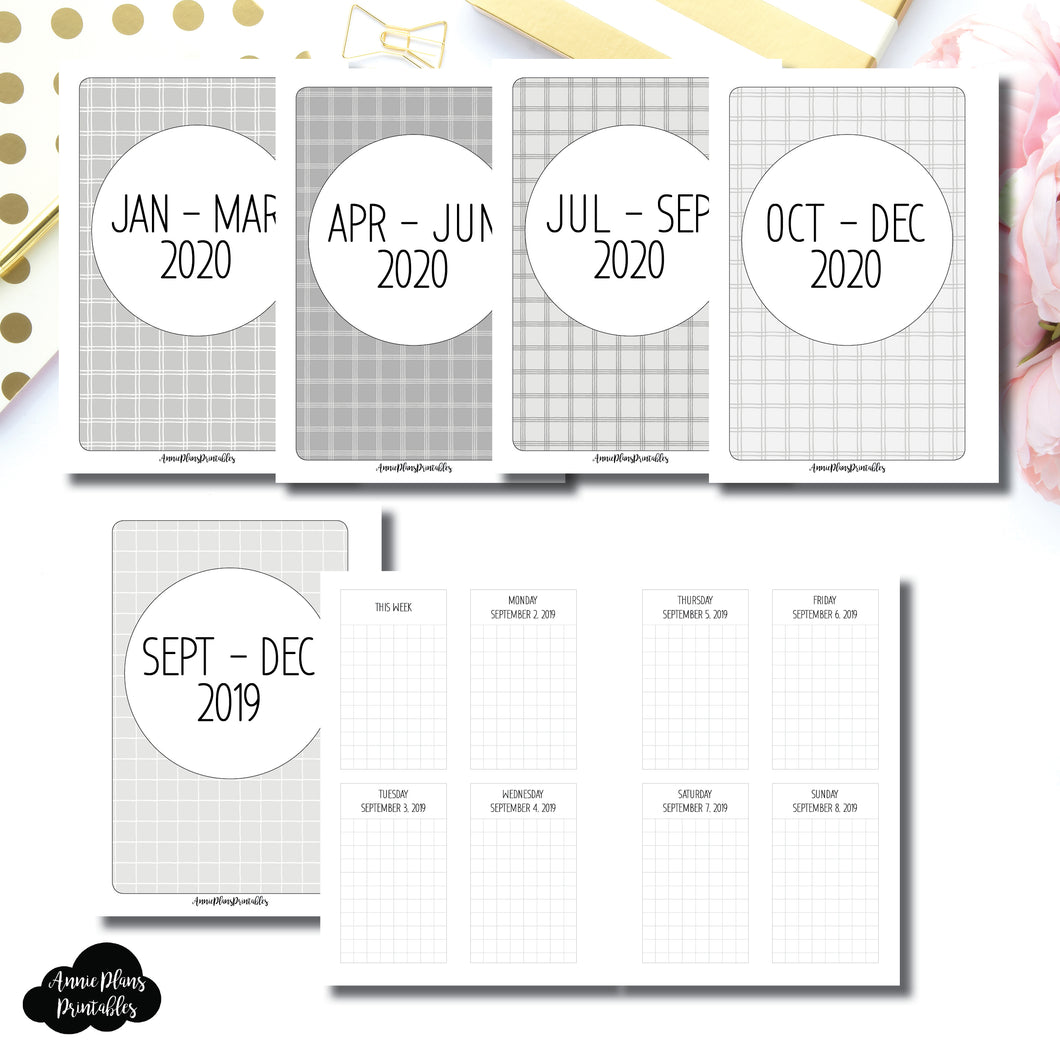 A6 Rings Size | SEPT 2019 - DEC 2020 Vertical Week on 2 Pages Printable Insert ©