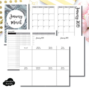 Cahier TN Size | JAN - MAR 2019 | Vertical Week on 2 Page (Monday Start) Printable Insert ©