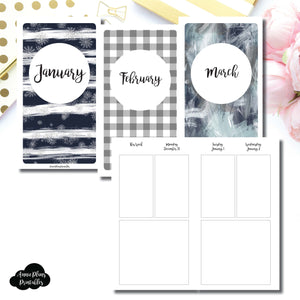Personal TN Size | JAN - MAR 2019 Basic Vertical Week on 4 Page (Monday Start) Layout Printable Insert ©