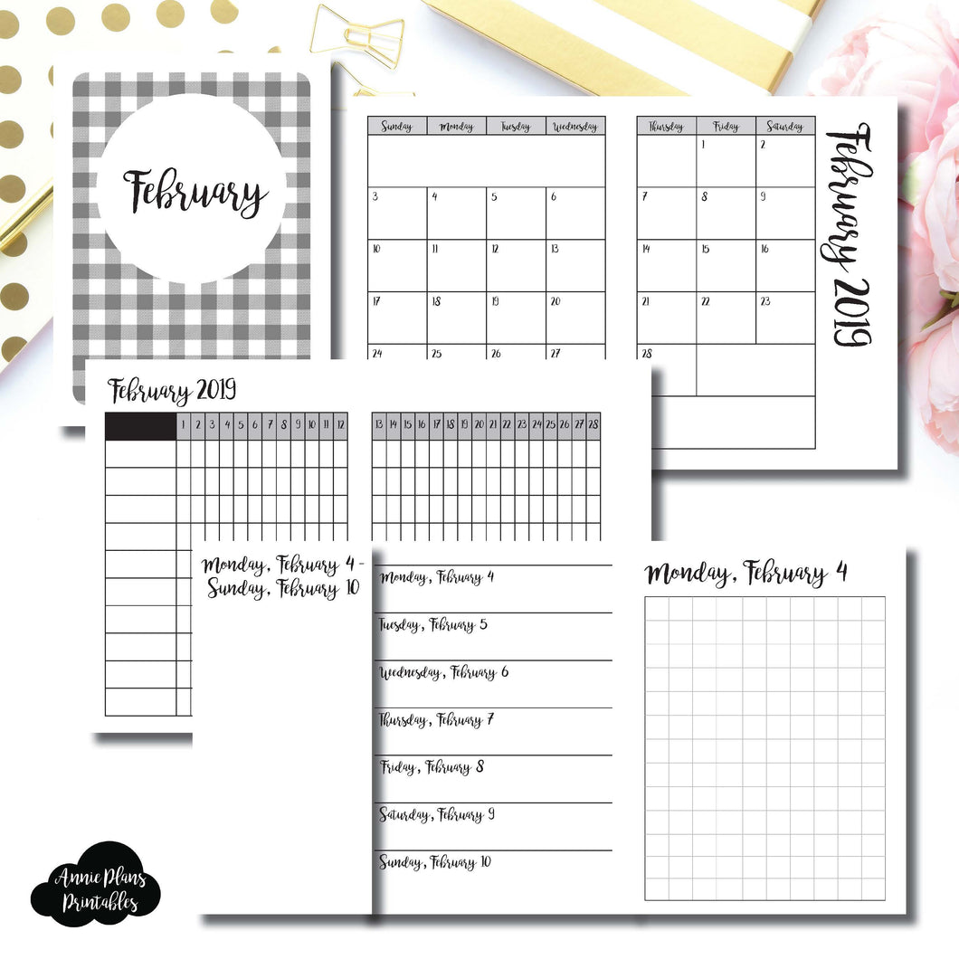 Micro TN Size | FEB 2019 | Month/Weekly/Daily GRID (Monday Start) Printable Insert ©