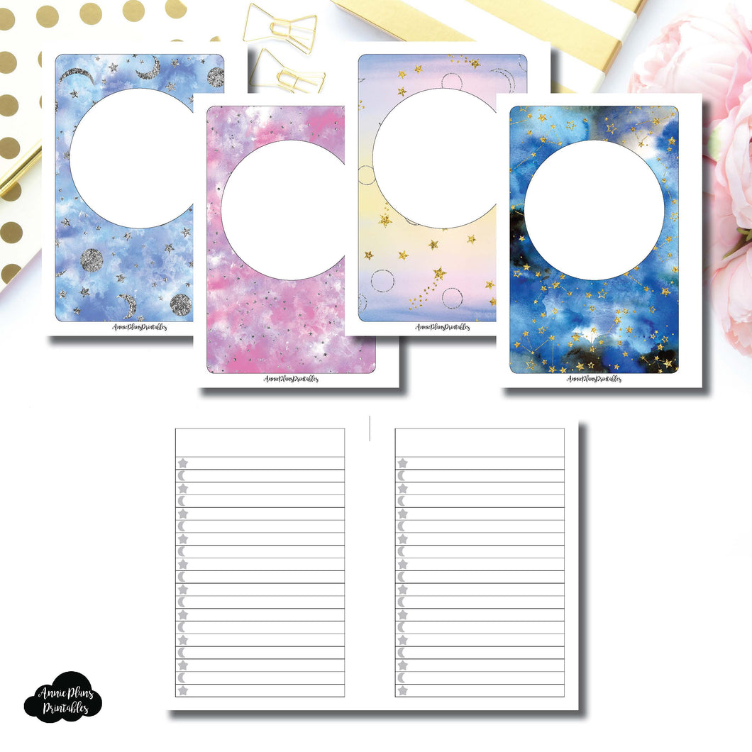 A6 RINGS SIZE | Blank Covers + Celestial Lists Printable Insert ©
