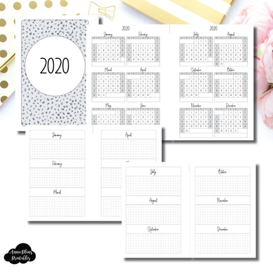 Half Page HP Size | 2020 Year at a Glance on 2 Pages Printable Insert ©