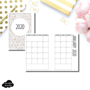 Personal Rings Size | 2020 SIMPLE FONT Monthly Calendar (SUNDAY Start) PRINTABLE INSERT ©