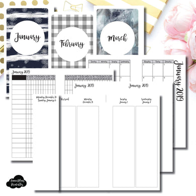 Personal TN Size | JAN - MAR 2019 | Week on 4 Pages (Monday Start) Vertical Layout | Printable Insert ©