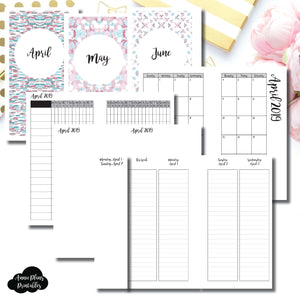Personal Rings Size | APR - JUN 2019 | Week on 4 Pages (Monday Start) LINED Vertical Layout | Printable Insert ©