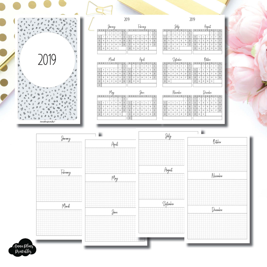 Half Letter Rings Size | 2019 Year at a Glance on 2 Pages Printable Insert ©