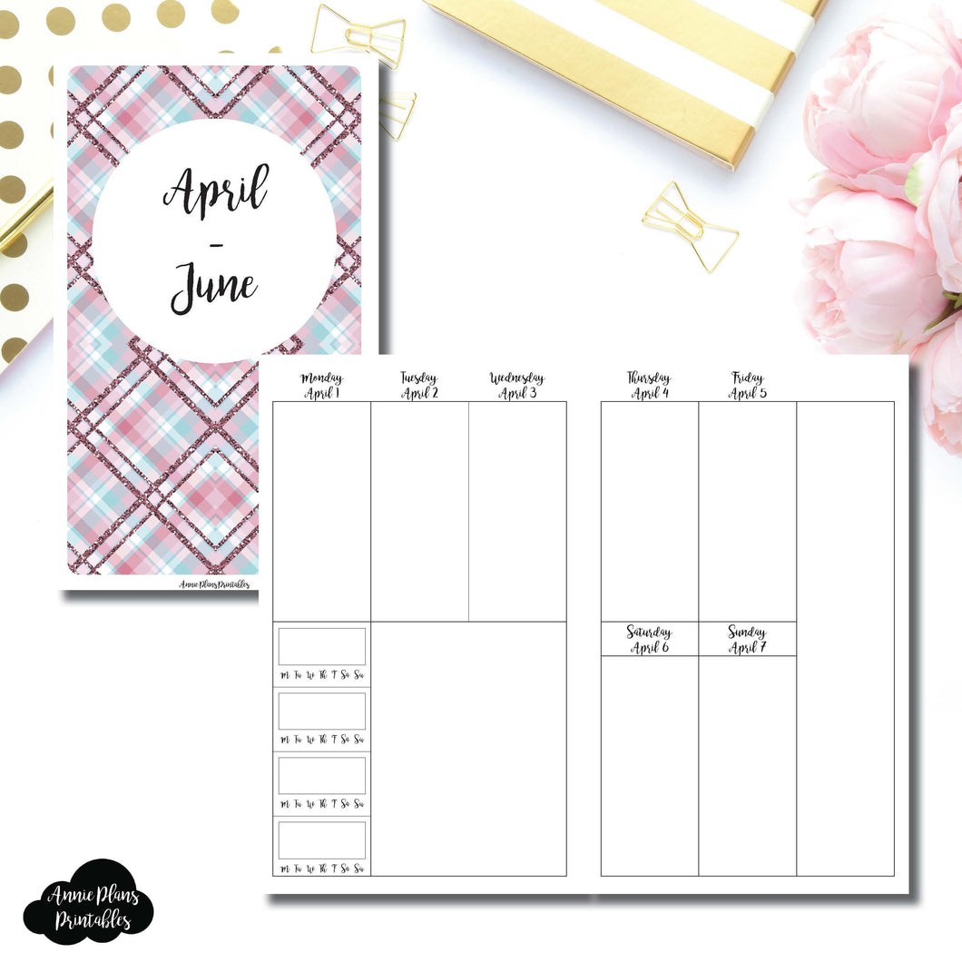 B6 Slim TN Size | APR - JUN 2019 | BASIC Vertical Week on 2 Page (Monday Start) With Trackers Printable Insert ©