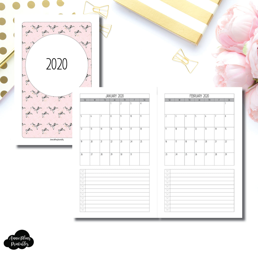 Half Letter Rings Size | 2020 Single Page Monthly Printable Insert ©