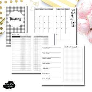 Standard TN Size | FEB 2019 | Month/Weekly/Daily GRID (Monday Start) Printable Insert ©