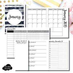 Passport TN Size | JAN 2019 | Month/Weekly/Daily TIMED (Monday Start) Printable Insert ©