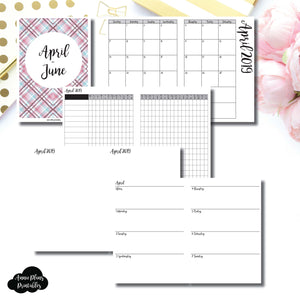 B6 TN Size | APR - JUN 2019 | Horizontal Week on 2 Page (Monday Start) Printable Insert ©
