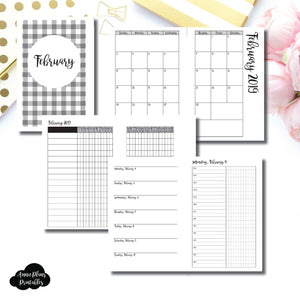 Mini HP Size | FEB 2019 | Month/Weekly/Daily TIMED (Monday Start) Printable Insert ©
