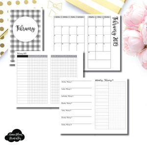Cahier TN Size | FEB 2019 | Month/Weekly/Daily UNTIMED (Monday Start) Printable Insert ©
