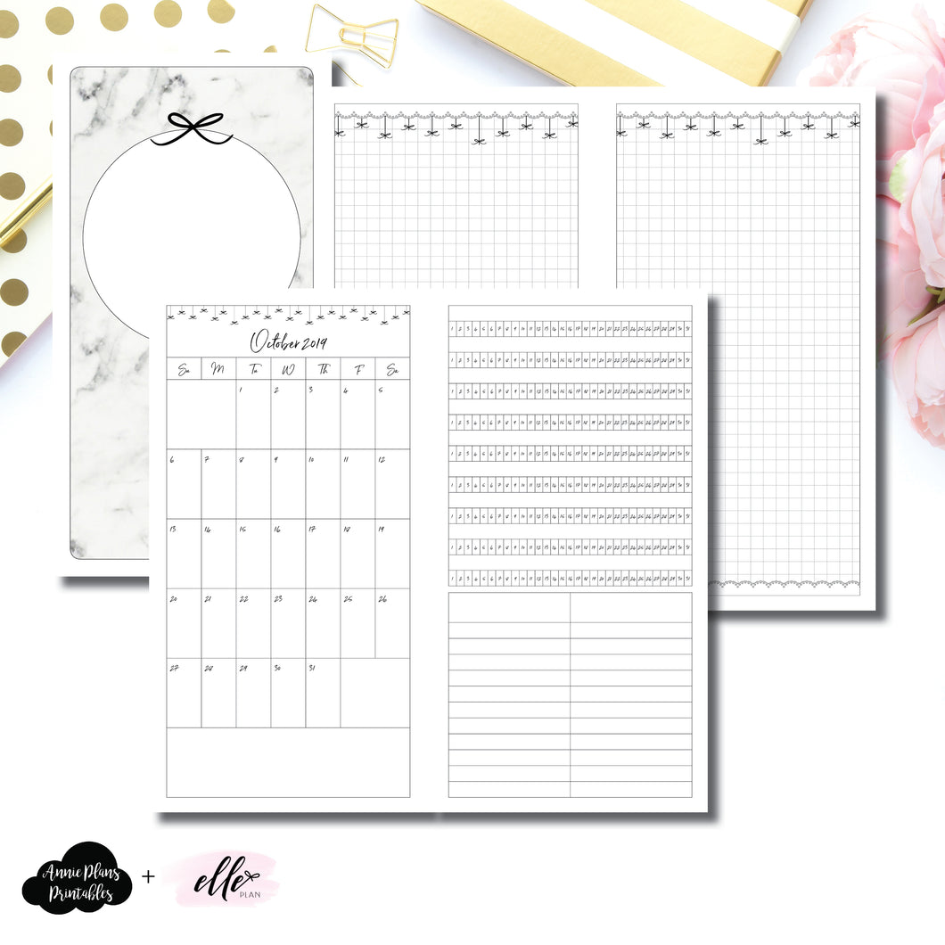 Standard TN Size | 15 Month (OCT 2019 - DEC 2020) + Tracker EllePlan Collaboration Printable Insert ©