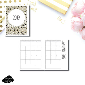 Classic HP Size | 2019 SIMPLE FONT Monthly Calendar (SUNDAY Start) PRINTABLE INSERT ©