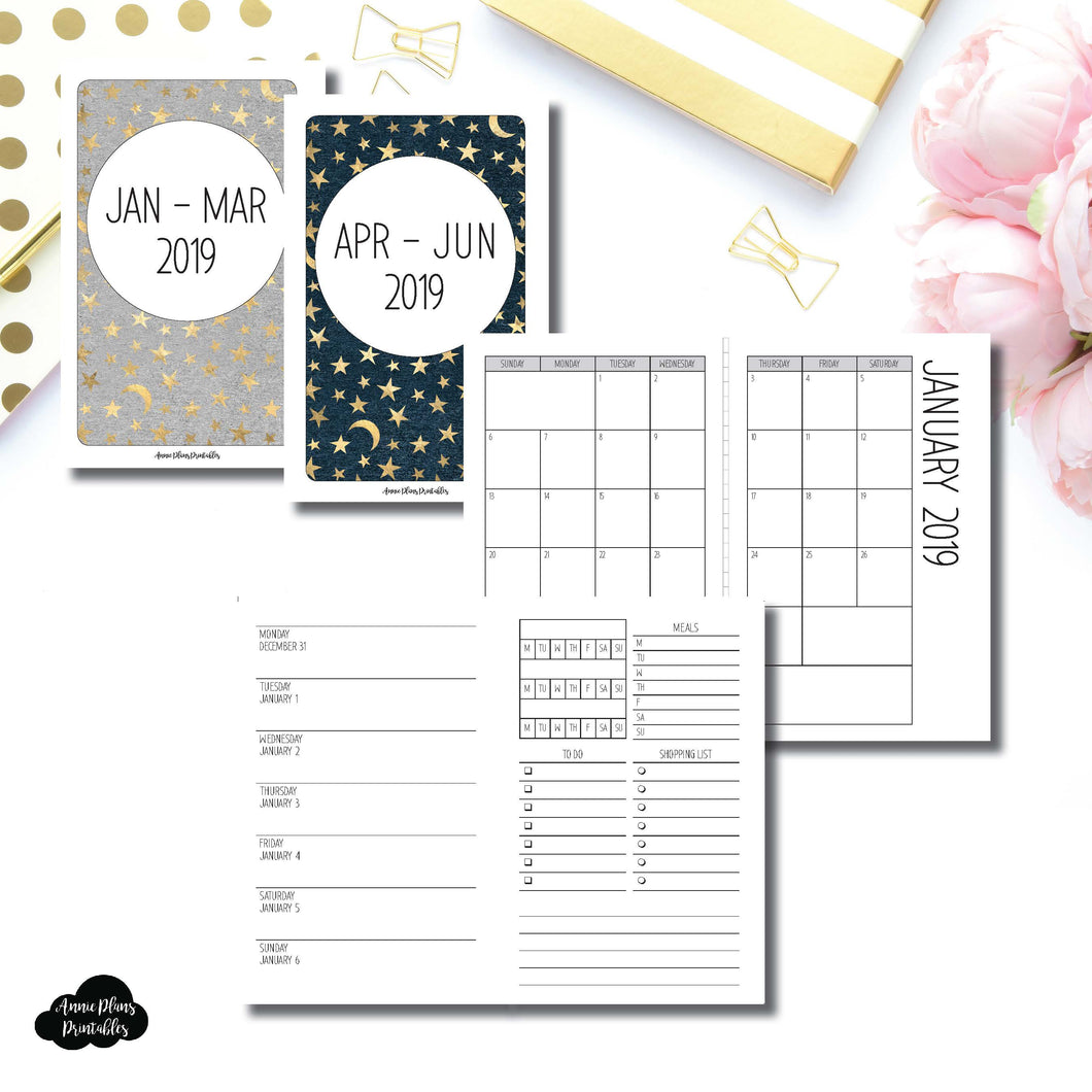 Pocket TN Size | JAN - MAR & APR - JUN 2019 | Week on 1 Page (Monday Week Start) With Trackers + Lists Printable Insert ©