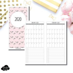 HWeeks Wide Size | 2020 Single Page Monthly Printable Insert ©