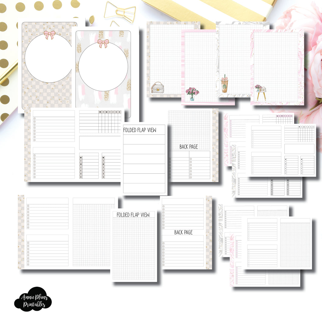 Pocket Rings Size | Weekly/Grid Fold Over Bundle Printable Insert ©