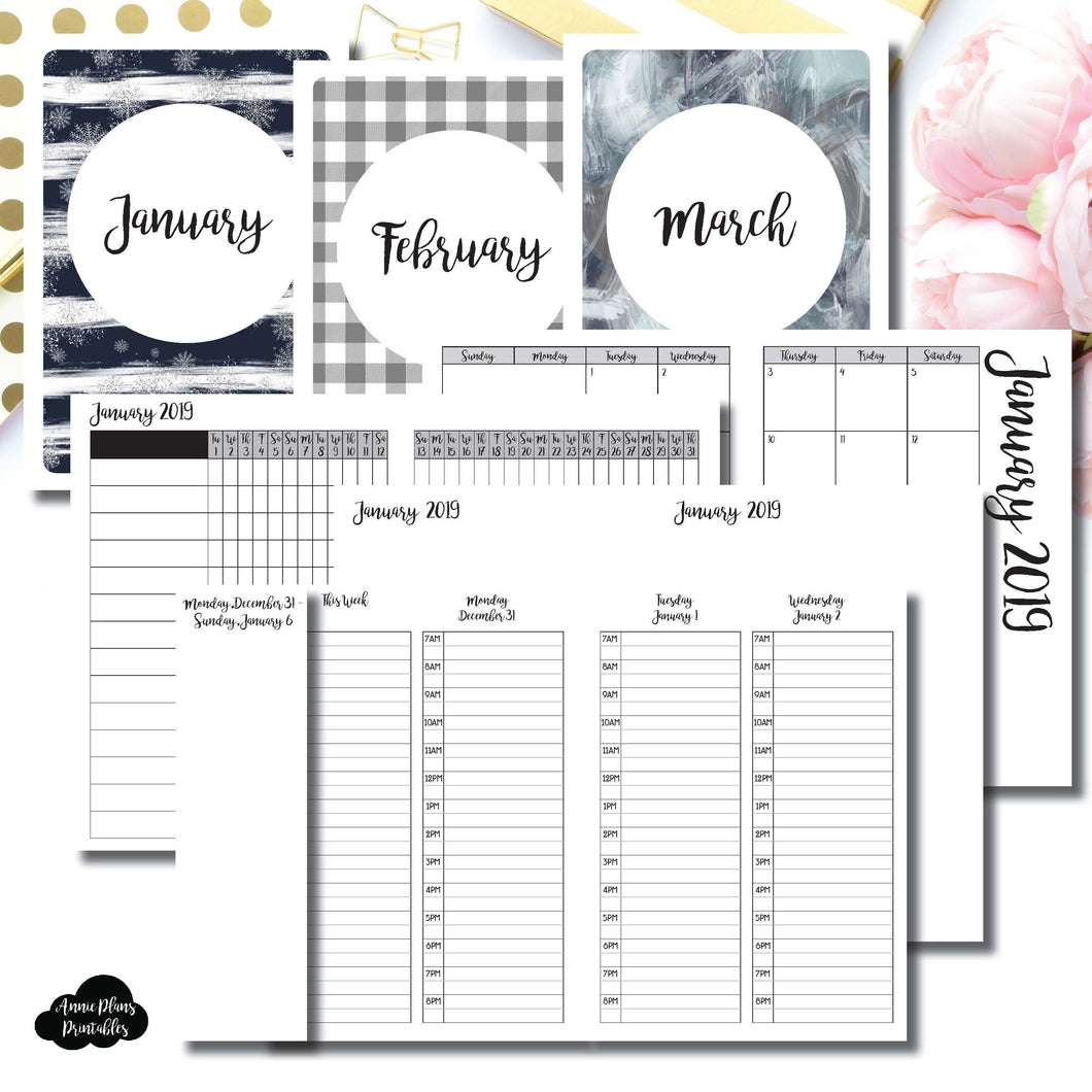 A6 TN Size | JAN - MAR 2019 | Week on 4 Pages (Monday Start) TIMED Vertical Layout | Printable Insert ©