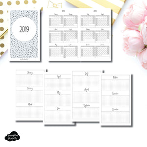 B6 Slim TN Size | 2019 Year at a Glance on 2 Pages Printable Insert ©