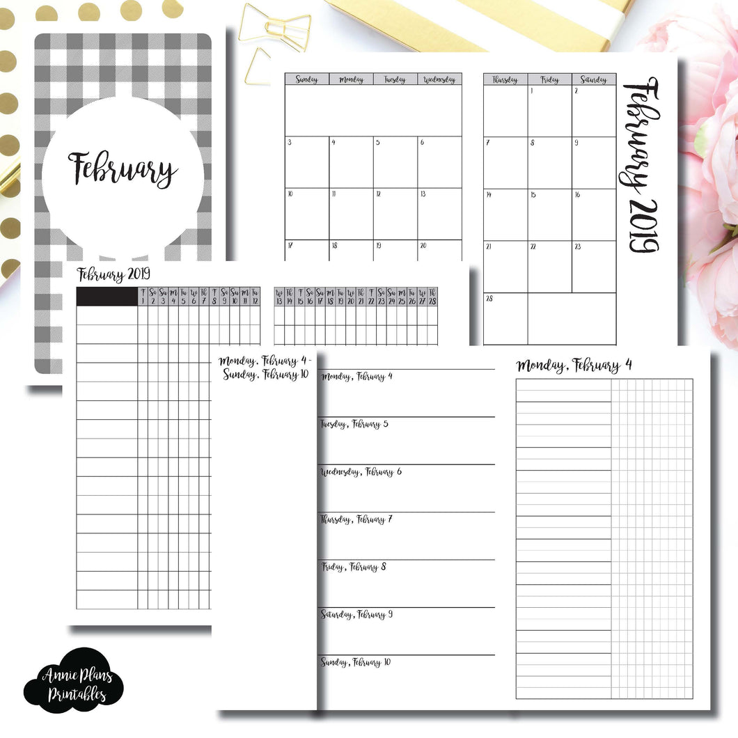 Personal TN Size | FEB 2019 | Month/Weekly/Daily UNTIMED (Monday Start) Printable Insert ©