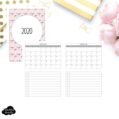 A6 TN Size | 2020 Single Page Monthly Printable Insert ©