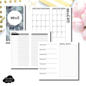 Standard TN Size | MAR 2019 | Month/Weekly/Daily GRID (Monday Start) Printable Insert ©