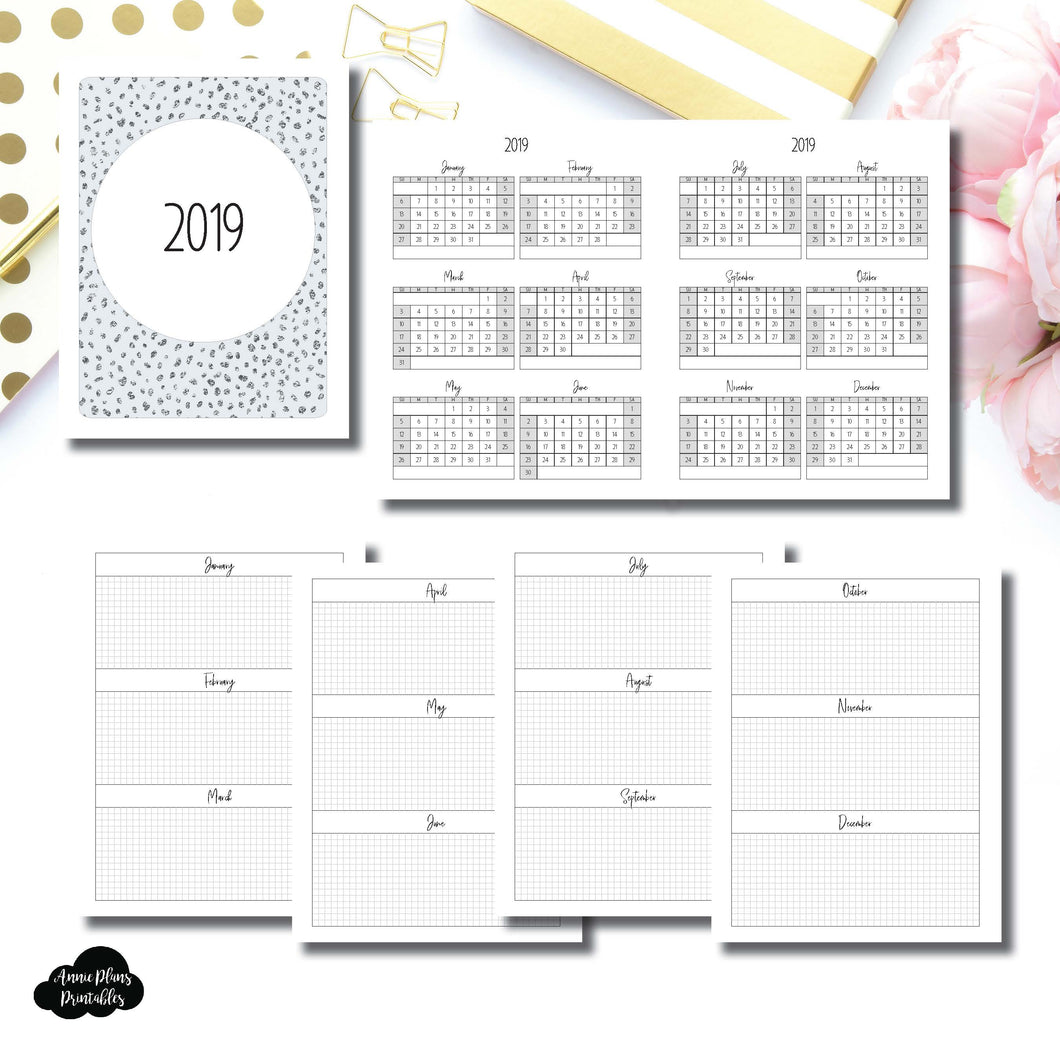 Classic HP Size | 2019 Year at a Glance on 2 Pages Printable Insert ©