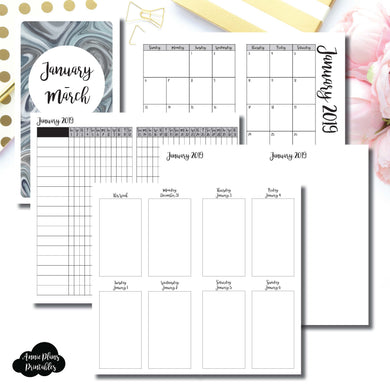 Personal TN Size | JAN - MAR 2019 | Vertical Week on 2 Page (Monday Start) Printable Insert ©