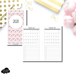 Personal Rings Size | 2020 Single Page Monthly Printable Insert ©