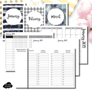 Pocket TN Size | JAN - MAR 2019 | Week on 4 Pages (Monday Start) TIMED Vertical Layout | Printable Insert ©