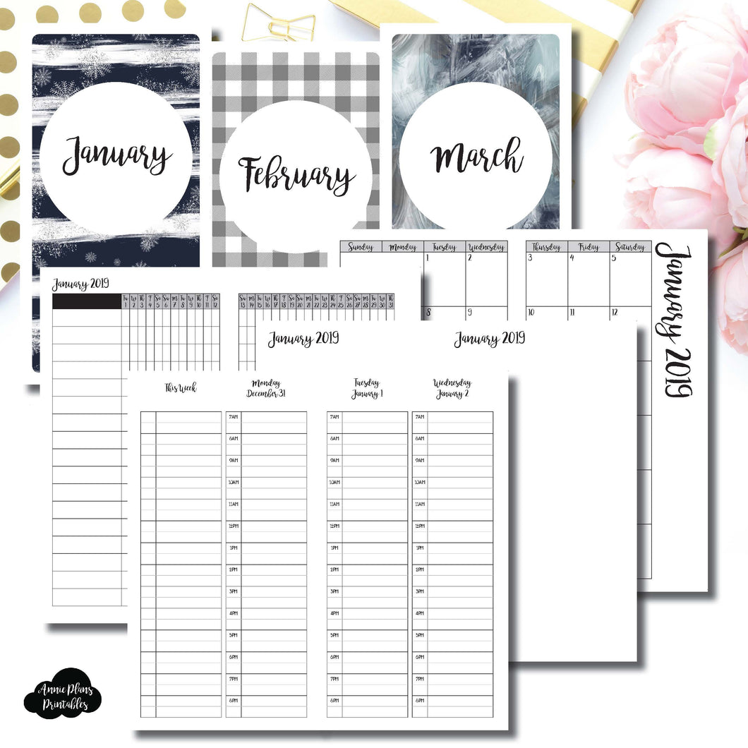 Standard TN Size | JAN - MAR 2019 | Week on 4 Pages (Monday Start) TIMED Vertical Layout | Printable Insert ©