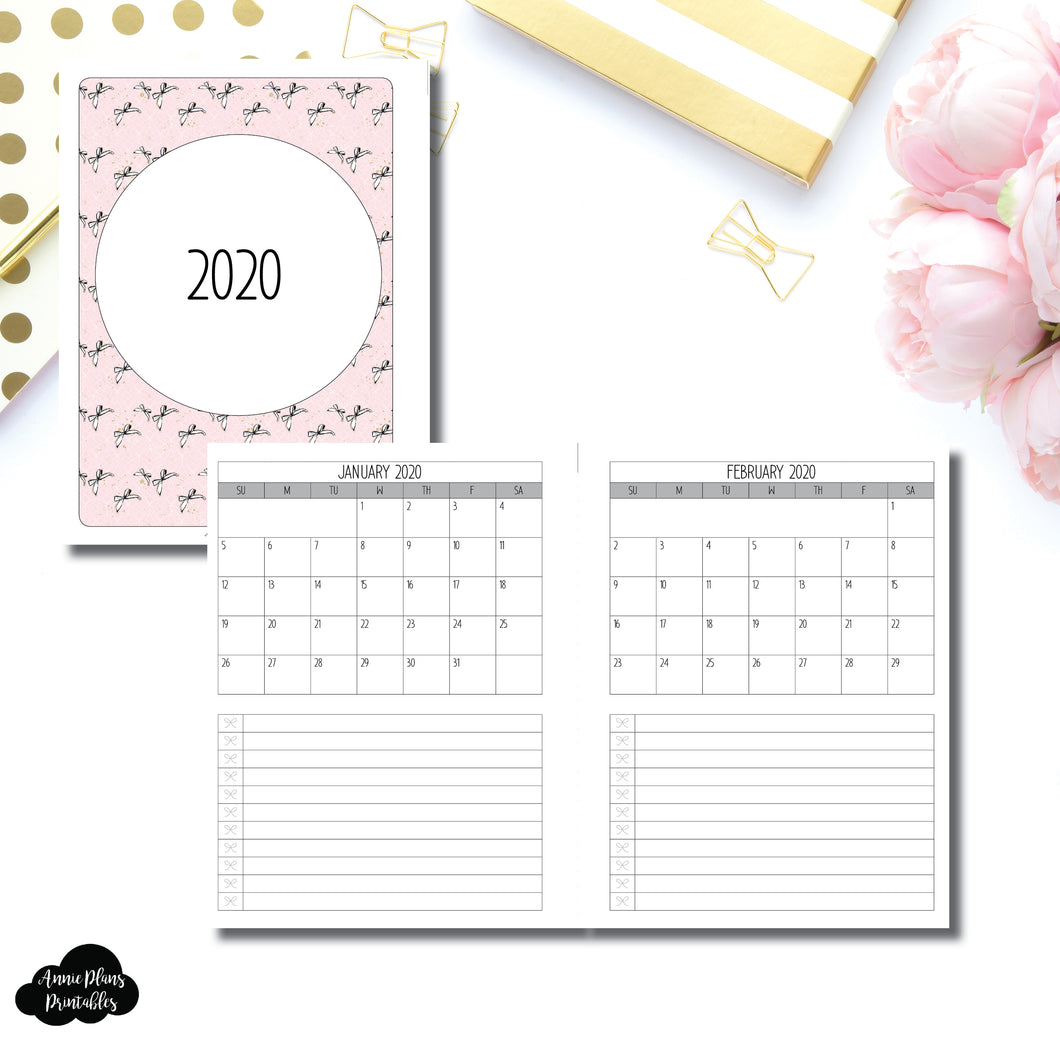 B6 Rings Size | 2020 Single Page Monthly Printable Insert ©