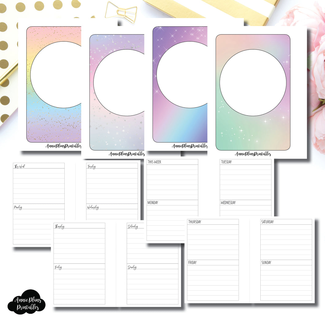 Micro HP Size | Undated Week on 4 Pages Lined Vertical Printable Insert ©