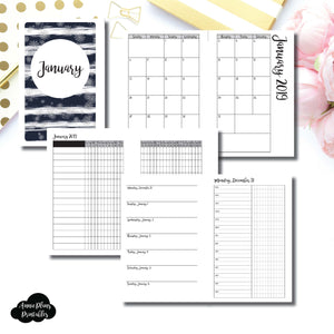 Mini HP Size | JAN 2019 | Month/Weekly/Daily TIMED (Monday Start) Printable Insert ©