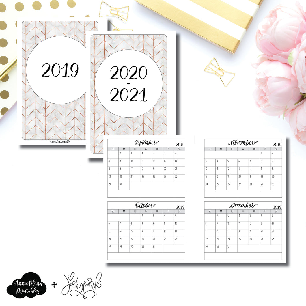 H Weeks Size | 2019 - 2021 4 Months on 2 Pages Jeshy Park Collaboration Printable Insert ©