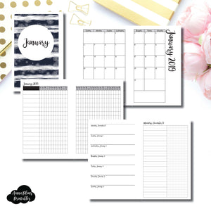 Half Letter Rings Size | JAN 2019 | Month/Weekly/Daily UNTIMED (Monday Start) Printable Insert ©