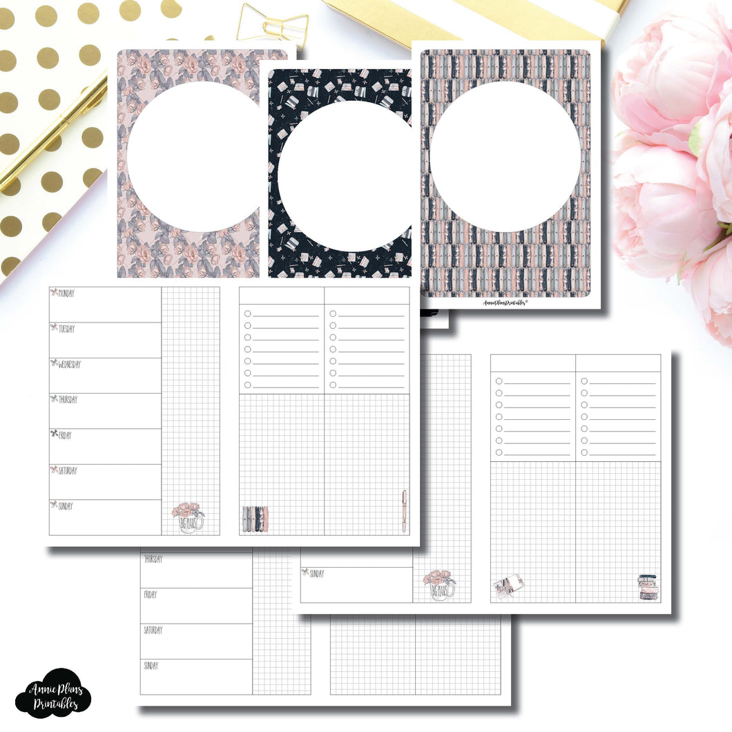 B6 Rings Size | Undated Week on 2 Page Collaboration Printable Insert ©