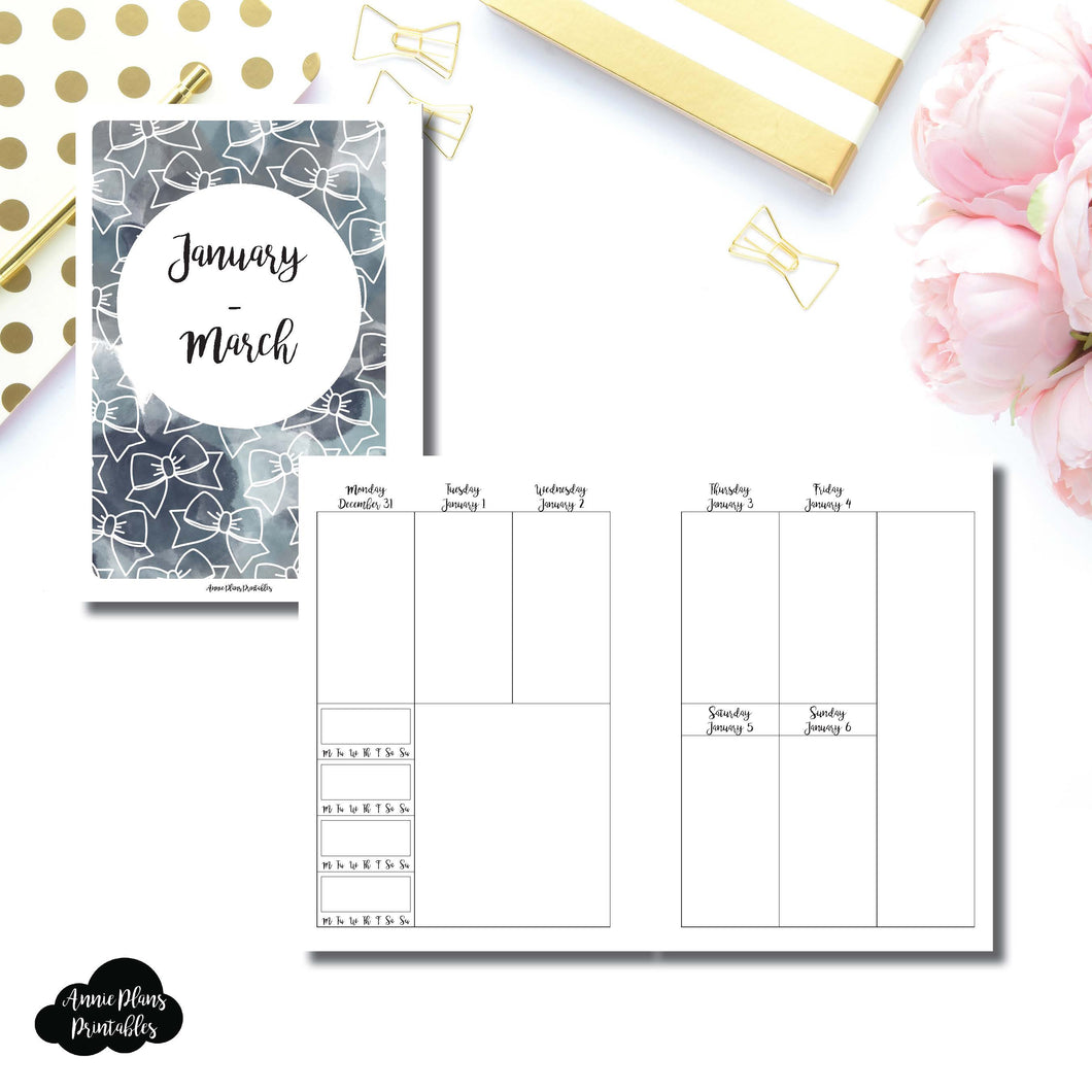 Personal Wide Rings Size | JAN - MAR 2019 | BASIC Vertical Week on 2 Page (Monday Start) With Trackers Printable Insert ©