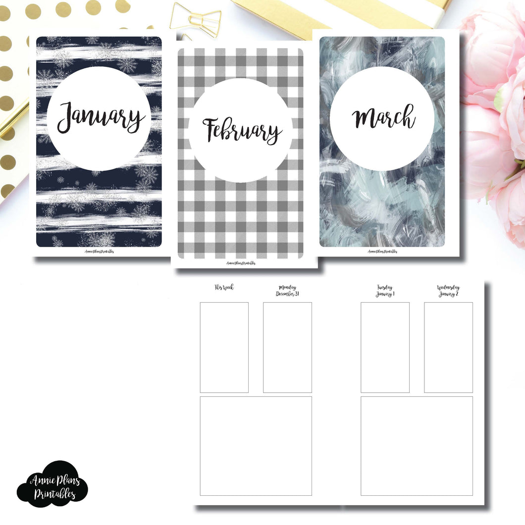Mini HP Size | JAN - MAR 2019 Basic Vertical Week on 4 Page (Monday Start) Layout Printable Insert ©