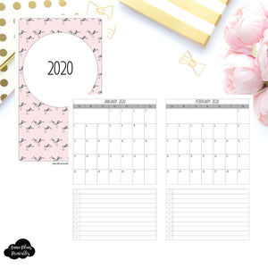 Cahier TN Size | 2020 Single Page Monthly Printable Insert ©