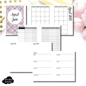 A6 Rings Size | APR - JUN 2019 | Horizontal Week on 2 Page (Monday Start) Printable Insert ©