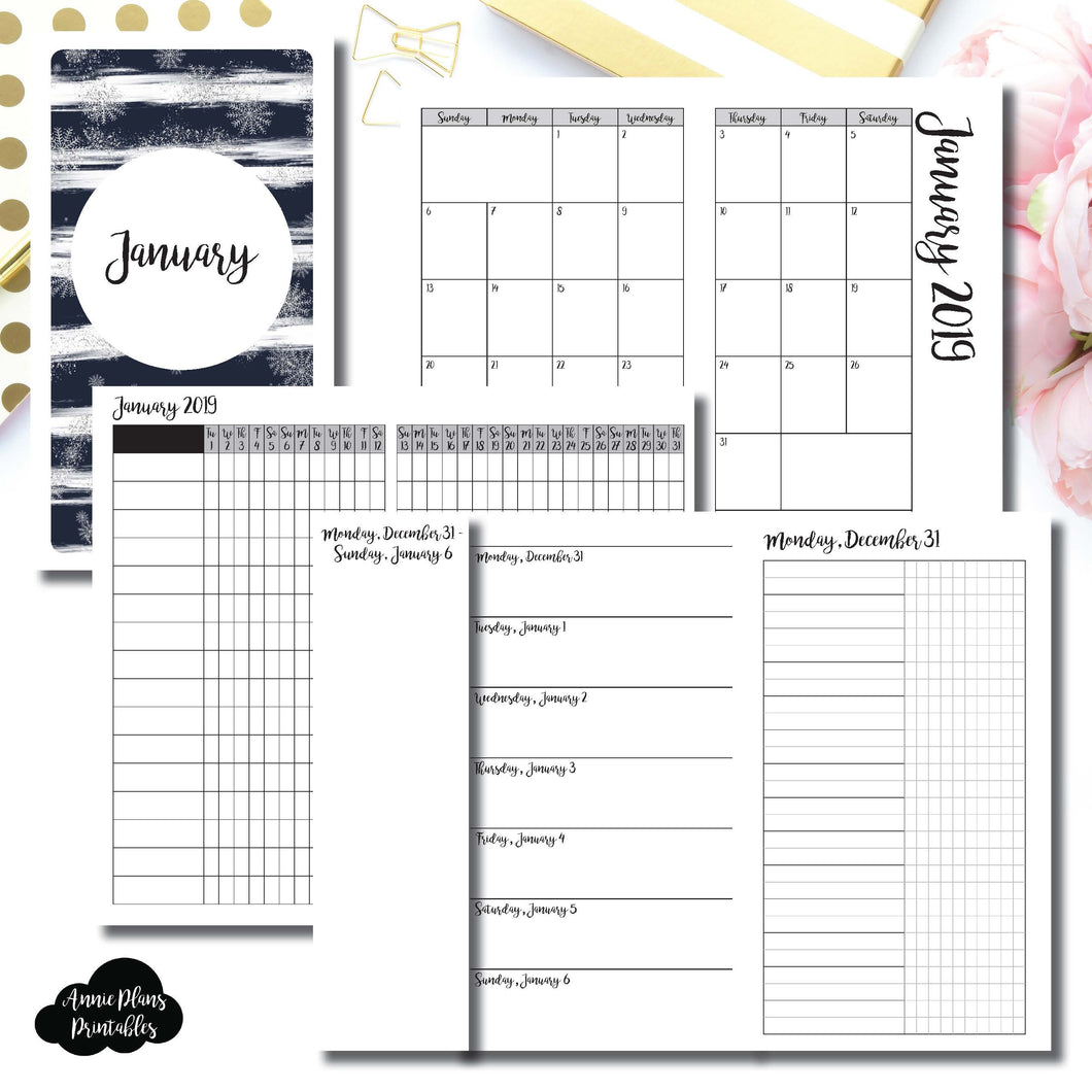 Personal TN Size | JAN 2019 | Month/Weekly/Daily UNTIMED (Monday Start) Printable Insert ©