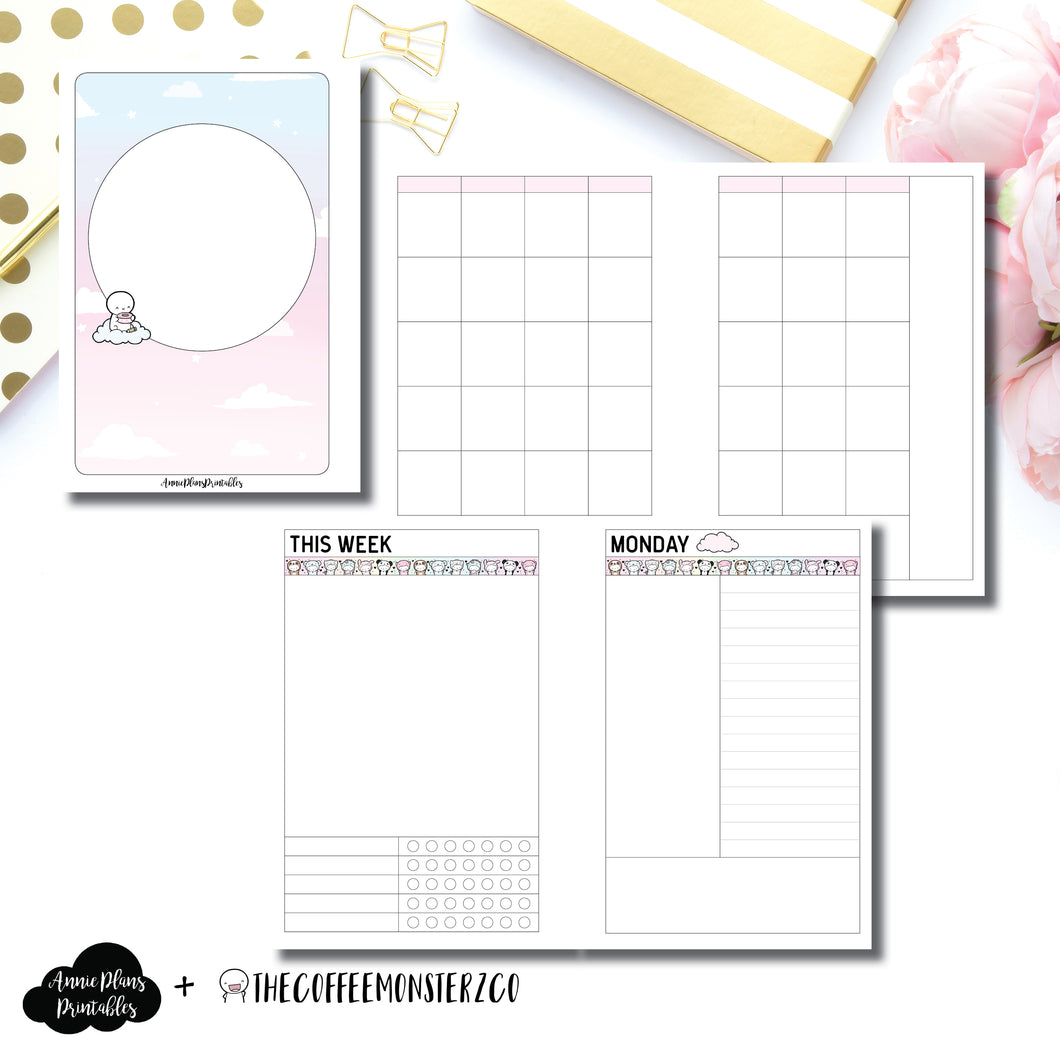 A6 Rings Size | TheCoffeeMonsterzCo Undated Daily Collaboration Printable Insert ©